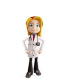 Docteur féminin avec la pose debout illustration de vecteur