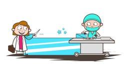 Docteur féminin Discussing de bande dessinée avec docteur Vector Concept de chirurgien illustration stock