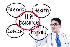 Docteur faisant le concept d'équilibre de la vie Images stock