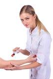 Docteur, fille, injection de seringue photos stock