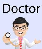 Docteur gai avec le vecteur de stéthoscope illustration stock