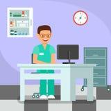 Docteur gai, dentiste Flat Vector Illustration illustration libre de droits