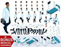 Docteur isométrique African American, créent votre caractère 3D un chirurgien, des ensembles de gestes des mains et des pieds, de illustration libre de droits
