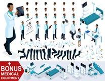 Docteur isométrique African American, créent votre chirurgien 3D, ensembles de gestes des jambes et des mains, émotions et coiffu illustration de vecteur