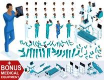 Docteur isométrique African American, créent votre infirmier 3d, ensembles de gestes des jambes et des mains, émotions et coiffur Illustration Libre de Droits