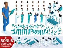 Docteur isométrique African American, créent votre infirmier 3d, ensembles de gestes des jambes et des mains, émotions et coiffur Illustration de Vecteur