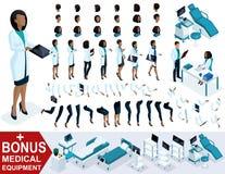 Docteur isométrique African American de femme, créent votre chirurgien 3D, ensembles de gestes des pieds, mains et émotions illustration libre de droits