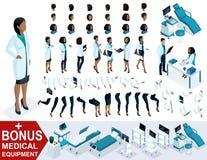 Docteur isométrique African American de femme, créent votre chirurgien 3D, ensembles de gestes des pieds, mains et émotions illustration stock