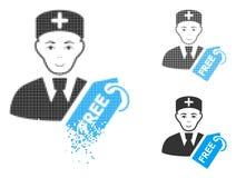 Docteur libre Icon d'image tramée cassée de Pixelated avec le visage illustration libre de droits