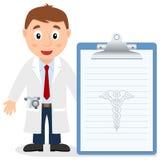 Docteur masculin blanc avec le disque médical illustration libre de droits