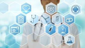 Docteur masculin employant les icônes digitalement produites de vecteur d'interface illustration stock