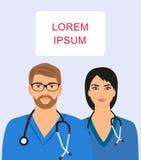 Docteur masculin et féminin avec le stéthoscope Illustration Libre de Droits
