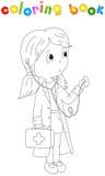 Docteur mignon de bande dessinée avec un stéthoscope illustration de vecteur
