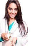 Docteur montrant des pilules Photo libre de droits