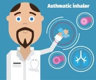 Docteur montrant un inhalateur d'asthme Affiche médicale d'asthme Images stock