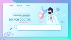 Docteur Online Service Man de recherche avec le stéthoscope illustration libre de droits