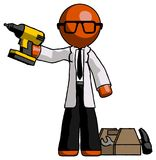 Docteur orange Scientist Man Holding Drill prêt à travailler, Toolche illustration stock