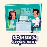 Docteur parlant avec le patient féminin concept de rendez-vous du ` s de docteur illustration de vecteur