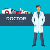 Docteur Soins de santé Illustration plate médicale Photos libres de droits