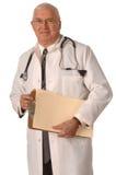 Docteur sur la position blanche Photos libres de droits