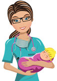 Docteur Surgeon Newborn de femme Photos libres de droits
