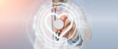 Docteur tenant le rendu de l'interface numérique 3D de battement de coeur Photographie stock libre de droits