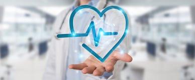 Docteur tenant le rendu de l'interface numérique 3D de battement de coeur Photos stock