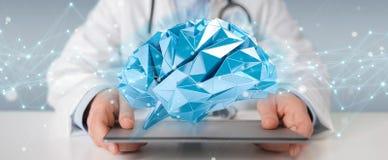 Docteur tenant le rendu numérique de l'interface 3D de cerveau Photographie stock libre de droits