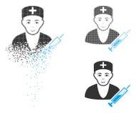 Docteur tramé Icon de Pixelated de la poussière avec le visage illustration de vecteur