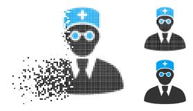 Docteur tramé réduit en fragments Icon de pixel illustration stock