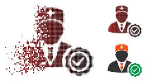 Docteur tramé réduit en fragments Stamp Seal Icon de pixel illustration libre de droits