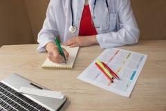 Docteur travaillant dans l'hôpital écrivant une prescription Lieu de travail du ` s de docteur de médecine Photos stock