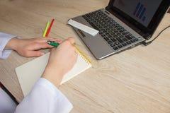 Docteur travaillant dans l'hôpital écrivant une prescription Lieu de travail du ` s de docteur de médecine Images libres de droits
