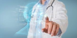 Docteur utilisant le rendu num?rique de l'interface 3D de t?te d'intelligence artificielle illustration libre de droits