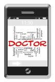 Docteur Word Cloud Concept au téléphone d'écran tactile Image libre de droits