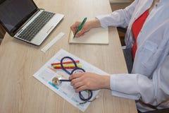 Doctor& x27 медицины; таблица деятельности s Доктор сидит в медицинском офисе в клинике и пишет историю болезни Стоковые Изображения