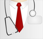 Doctor. With stethoscope and card. White jacket and red tie Stock Photos