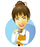 Doctor. Female doctor drinking coffee in breaks time Royalty Free Stock Images