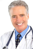 Doctor. Smiling medical doctor with stethoscope. Isolated over white background Stock Images