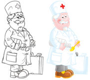 Doctor. Old doctor (2 versions of the illustration Royalty Free Stock Photography