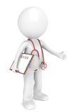 Doctor. 3D little human character The Doctor. Red theme. People series Royalty Free Stock Photo