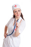Doctor. The girl the doctor shakes finger Stock Photo
