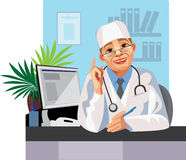 Doctor. Illustration of a health care workers, doctor warns Stock Image