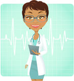 Doctor. Young female doctor with stethoscope. Glasses in a separate layer Stock Photo