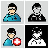 Doctor. With stethoscope icon. Person icon Stock Photo