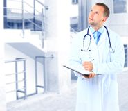 Doctor. Handsome middle aged doctor in corridor of hospital Stock Images