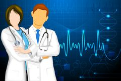 Doctor. Illustration of male and female doctor on medical background Stock Photo