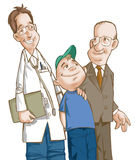 Doctor. Boy and grand father vector illustration
