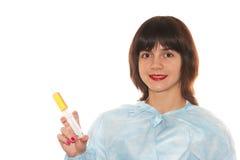 Doctor. Holding a syringe on white background Royalty Free Stock Photo