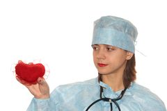 Doctor. With a red heart on the white background Stock Photos